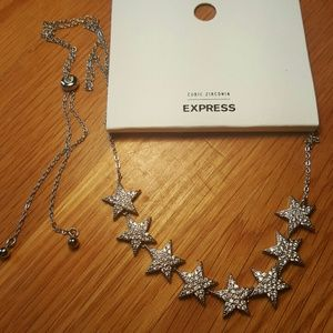 NWT EXPRESS Silver Pave Stars Necklace